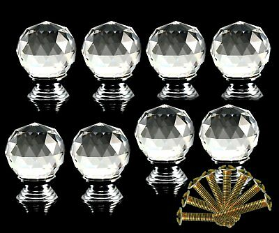 QO 4PCS Crystal Glass Clear Cut Door Knobs 30mm Drawer Cabinet Kitchen Handle