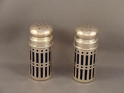 2 Sterling Silver & Cobalt Blue Glass Salt Shakers by Roden Brothers Canada