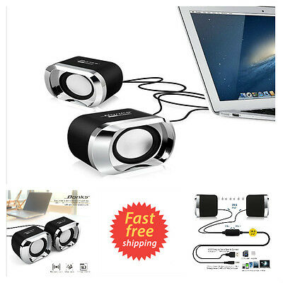 Mini Computer Speakers USB 2.0 Multimedia Audio w/ Stereo Sound for Laptops & PC