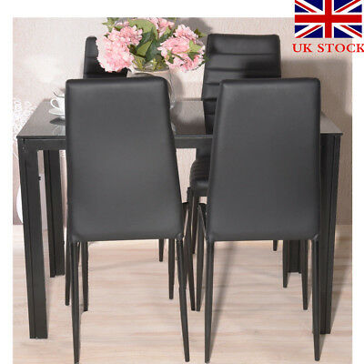 Panana Contemporary Dining Set with Table and 4 Chairs Black Kitchen Furniture