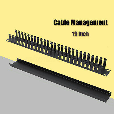 "1U Horizontal Rack Mount Cable Management Unit Panel metall +Plastic 19"" inch"