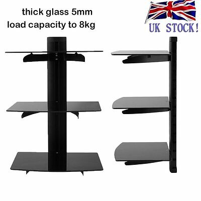 Glass TV Wall Mount Bracket 3 Shelves Shelf For DVD Sky Box Game Console LED LCD