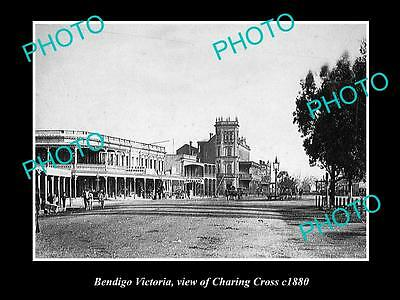 OLD LARGE HISTORIC PHOTO OF BENDIGO VICTORIA, VIEW OF CHARING CROSS c1880