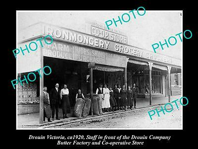 OLD LARGE HISTORIC PHOTO OF DROUIN VICTORIA, THE BUTTER CO-OP STORE c1920