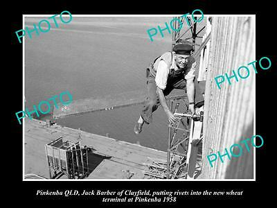 OLD LARGE HISTORIC PHOTO OF PINKENBA QLD, BUILING THE NEW WHEAT SILOS c1958