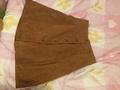 Plus Size Skirt High Waisted A-Line Front Button Brown Tan Suede Vintage Retro