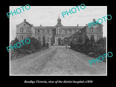 Old Large Historic Photo Of Bendigo Victoria, View Of The District Hospital 1890