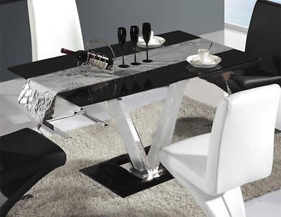 """Black High Gloss """"V """"Glass Dining Table and 4 Leather Chairs Seater Furniture UK"""