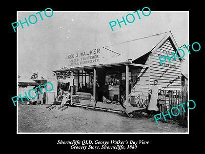 OLD LARGE HISTORIC PHOTO OF SHORNCLIFFE QLD, WALKERS GENERAL STORE c1880