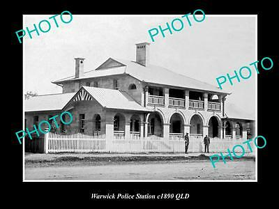 OLD LARGE HISTORIC PHOTO OF WARWICK QLD, VIEW OF THE POLICE STATION c1890