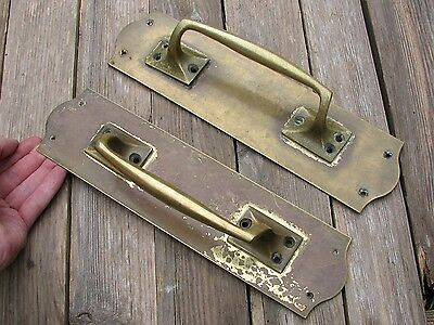 Old Pair of Large Brass Door Pull Handles / Shop / Pub / Bar Vintage