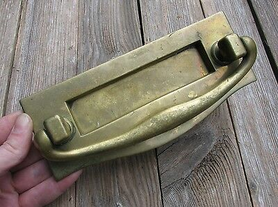 Old Reclaimed Solid Brass Letter Box Plate / Door Mail Slot with Knocker