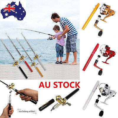 Telescopic Mini Portable Pocket Pen Shape Aluminum Alloy Fishing Rod Pole + Reel