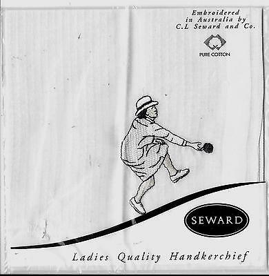Pure cotton ladies hankie handkerchief white lawn bowls NIP NOS SEWARD vintage
