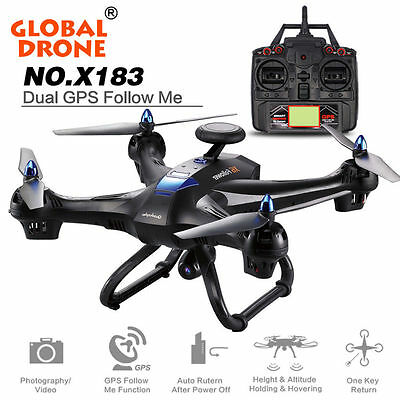 Global Drone X183 w/5.8GHz WiFi FPV 1080P Camera GPS FPV Remote Quadcopter