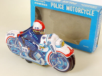 Japan 51 Police Department D.P. Bike Motorrad Blech Friktion 60er OVP 1409-03-84