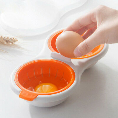 Kitchen Tool Nonstick 2-Cup Covered Egg Poacher Microwave Poached Cup UK