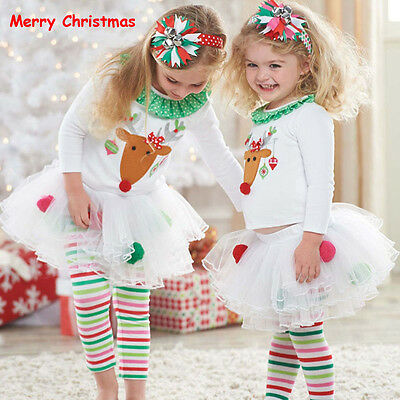 Christmas Kids Baby Girls Reindeer Tops+ Tutu Pants Leggings Outfits Set Clothes