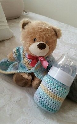 Babys gift. Matching outfit with bottle cover handmade with love