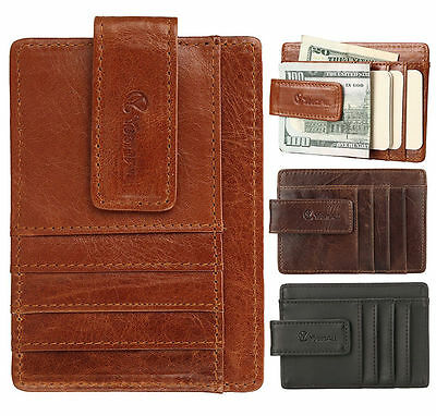 Mens Leather Magnetic Money Clip Front Pocket ID Credit Card Wallet Slim Style