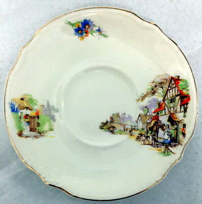 Vintage J & G Meakin Orphan Saucer Large Size 16.4Cm Dia Red Roof Horse Dogs