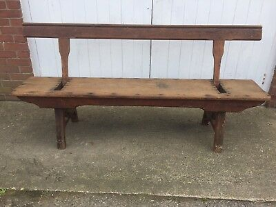 Solid Wood Antique Church Pew/Bench with Double Swivel Back