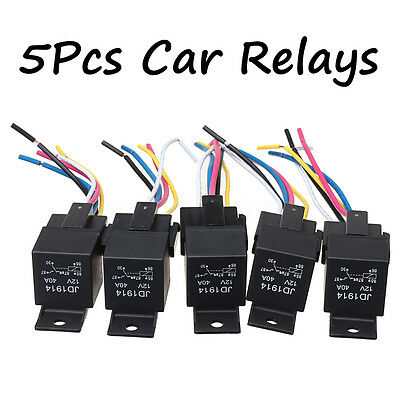 5Pcs Car Truck Auto SPDT Relay DC 12V  5 Pin 5 Wires W/ Harness Socket 30/40 Amp
