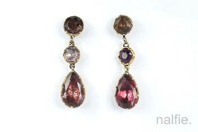 ANTIQUE GEORGIAN ENGLISH 15K GOLD FOILED AMETHYST PASTE EARRINGS c1820