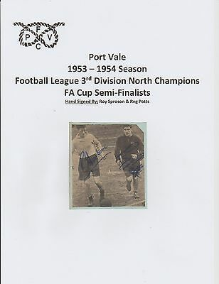 Roy Sproson & Reg Potts Port Vale 1953-1954 Season Rare Orig Hand Signed Picture