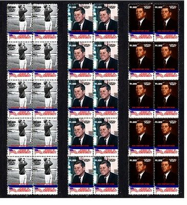 John F Kennedy, Set Of 3 Icons Mint Stamp Strips 2