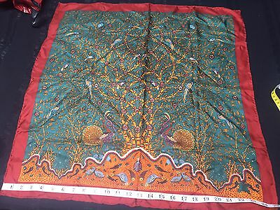 UNWORN VINTAGE LIBERTY SILK SCARF.  FLORA AND PEACOCKS!  MINT. 25 x 25 INCHES^