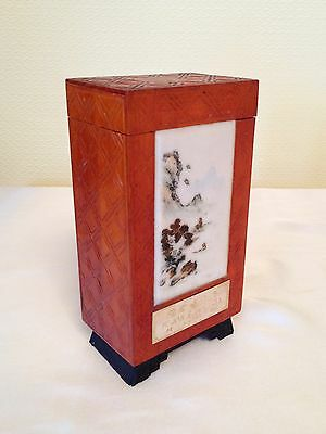 Oriental Vintage Tea Caddy Wooden Tea Caddy With Marble Front