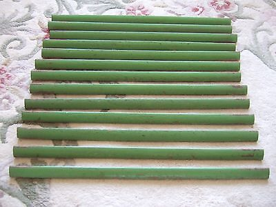 Set Of 13 Vintage Wooden Stair Rods In Original Green Paint C1938 - 22 Inches