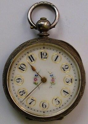 C1890 Ladies Silver Cased Swiss Open Face Fob Watch