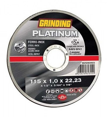 Grinding disc Platinum For Iron-Inox Mm 115X1,6 F22 Tools Manual