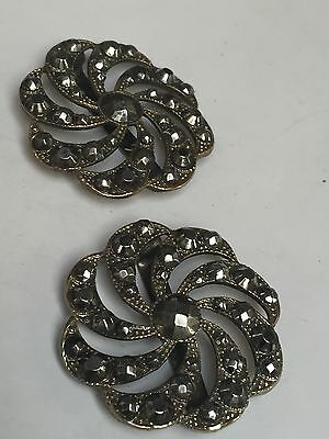 "ANTIQUE PAIR OF FRENCH EDWARDIAN CUT STEEL SHOE BUCKLES C 1910 1.25"" Diameter"