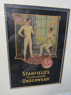 Original 1925 Stanfield's Underwear Advertising Sign Of Men In Golf Lockerroom