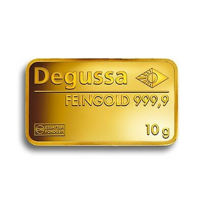 Pure Gold 10 G Degussa Gold Bar 999.9 Pure Gift Investment