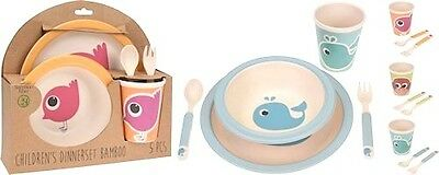 Children 5pc Breakfast Lunch Dinner Set Dining Bamboo fibre Eco Tableware