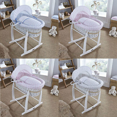 Clair de Lune Speckles White Wicker Moses Basket