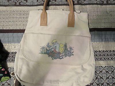 Disney Winnie the Pooh Classic Pooh Tan Canvas Backpack Purse Embroidered VGC