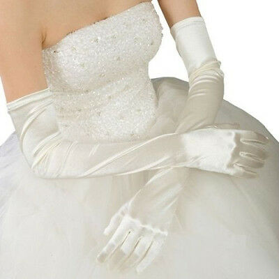 New Ivory Stretch Satin Bridal Evening Opera Prom Over Elbow Long Gloves