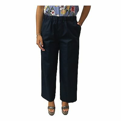 ASPESI trousers blue woman large with elastic waist and pockets mod H128 D307