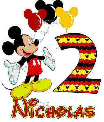 Mickey Mouse Balloons Birthday PERSONALIZE Add Name and Number Custom T-shirt