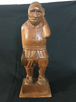 Hand Carved Wood Mexican Folk Art Man Holding Hat Peasant Made in Mexico