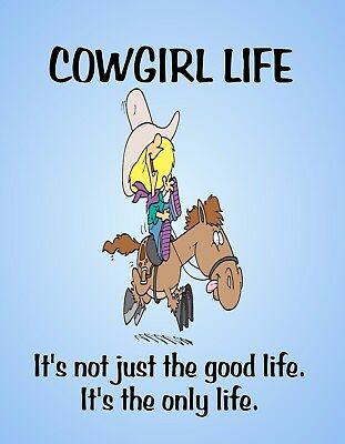 METAL REFRIGERATOR MAGNET Cowgirl Life Only Life Horse Western Humor Friend