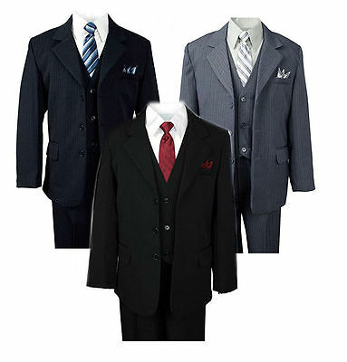 Kids Boys Formal Suit Pinstripe 5 Pieces Set Jacket Dress Shirt Vest Tie Pants