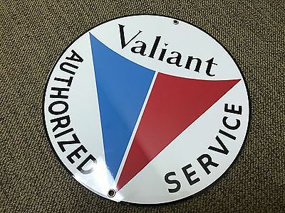 Valiant service vintage Plymouth Chrysler round sign reproduction blue