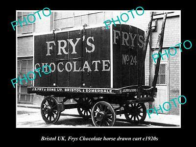 OLD LARGE HISTORIC PHOTO OF BRISTOL ENGLAND, FRYS CHOCOLATE DELIVERY CART c1920s