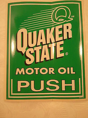 "NOS Quaker State Motor Oil Door ""Push"" ManCave Decal Gas Service Station Sticker"